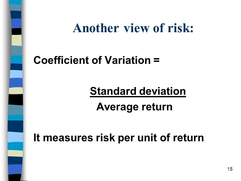 15 Another view of risk: Coefficient of Variation = Standard deviation Average return It measures risk per unit of return