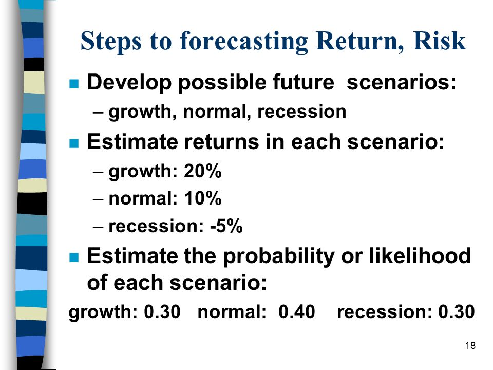 18 Steps to forecasting Return, Risk n Develop possible future scenarios: –growth, normal, recession n Estimate returns in each scenario: –growth: 20%