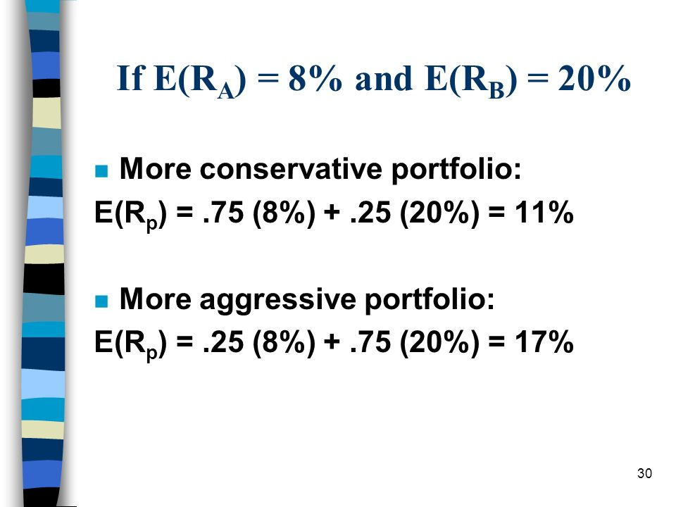 30 If E(R A ) = 8% and E(R B ) = 20% n More conservative portfolio: E(R p ) =.75 (8%) +.25 (20%) = 11% n More aggressive portfolio: E(R p ) =.25 (8%)