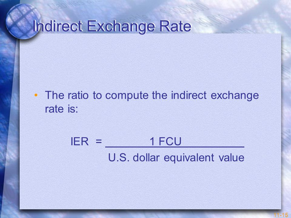 11-15 Indirect Exchange Rate The ratio to compute the indirect exchange rate is: IER = 1 FCU U.S. dollar equivalent value