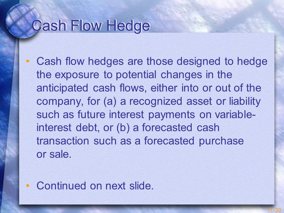 11-30 Cash Flow Hedge Cash flow hedges are those designed to hedge the exposure to potential changes in the anticipated cash flows, either into or out