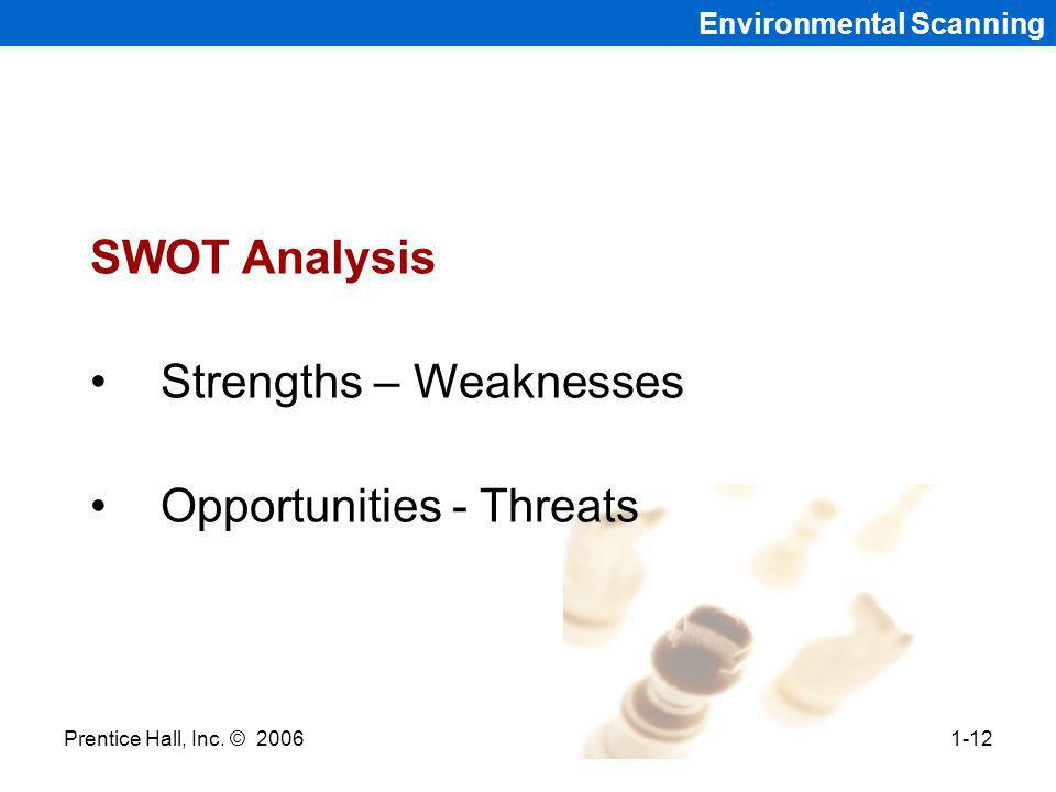 Prentice Hall, Inc. © 20061-12 Environmental Scanning SWOT Analysis Strengths – Weaknesses Opportunities - Threats