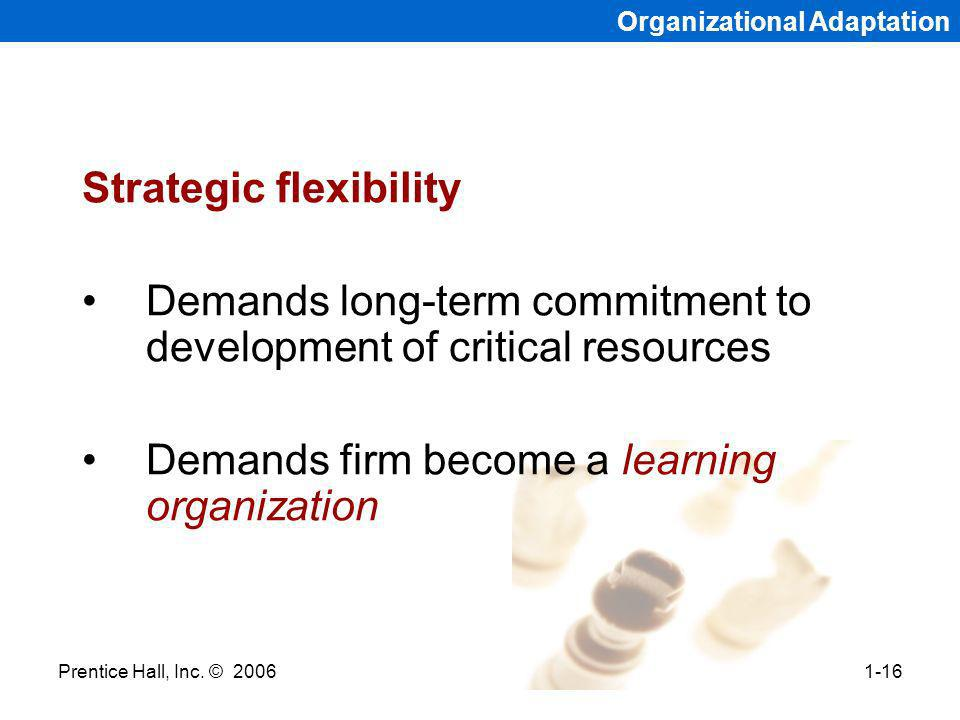Prentice Hall, Inc. © 20061-16 Organizational Adaptation Strategic flexibility Demands long-term commitment to development of critical resources Deman