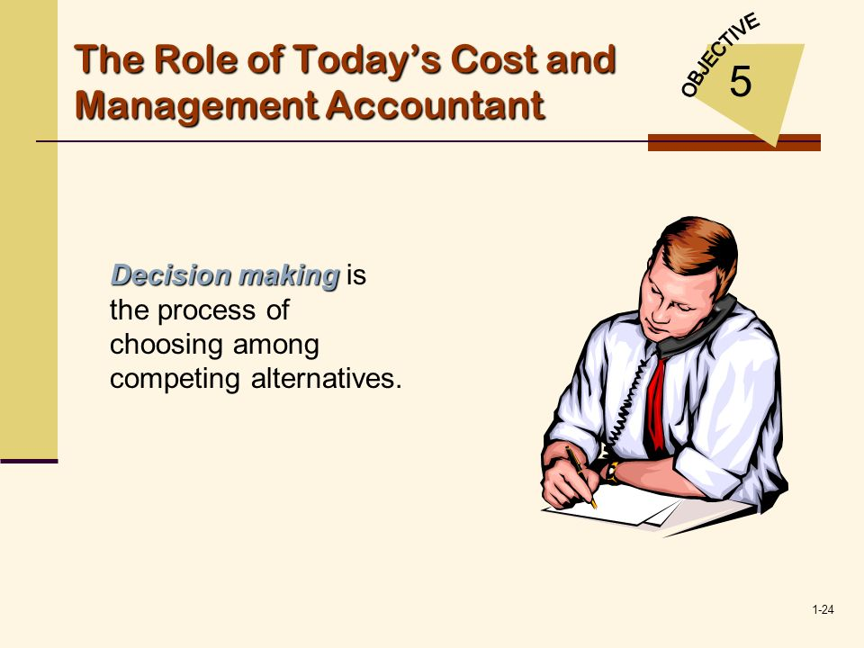 1-24 The Role of Todays Cost and Management Accountant 5 Decision making Decision making is the process of choosing among competing alternatives.