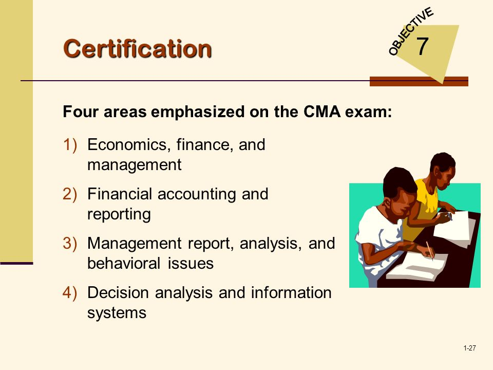 1-27 Certification 7 1)Economics, finance, and management 2)Financial accounting and reporting 3)Management report, analysis, and behavioral issues 4)