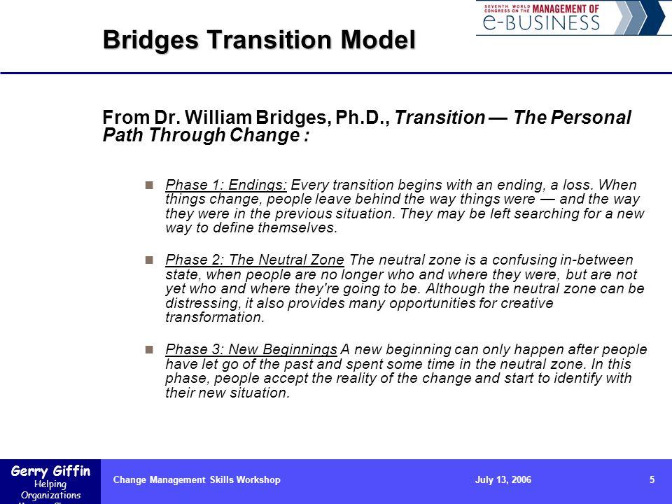 Gerry Giffin Helping Organizations Manage Change Change Management Skills Workshop5July 13, 2006 Bridges Transition Model From Dr. William Bridges, Ph