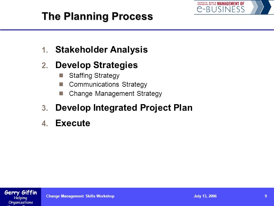 Gerry Giffin Helping Organizations Manage Change Change Management Skills Workshop9July 13, 2006 The Planning Process 1.