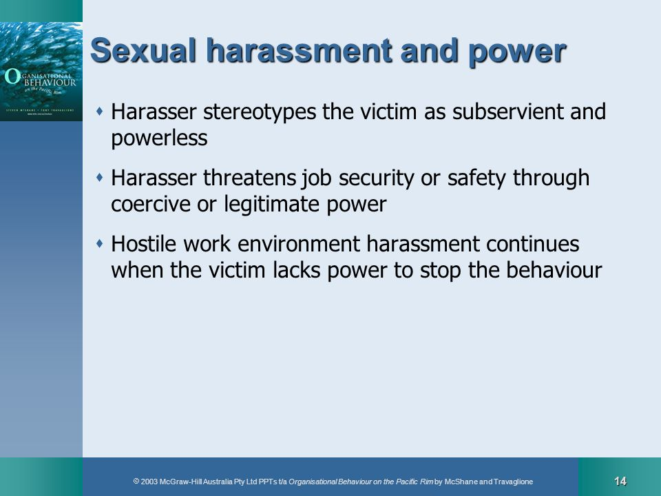 2003 McGraw-Hill Australia Pty Ltd PPTs t/a Organisational Behaviour on the Pacific Rim by McShane and Travaglione 14 Sexual harassment and power Hara