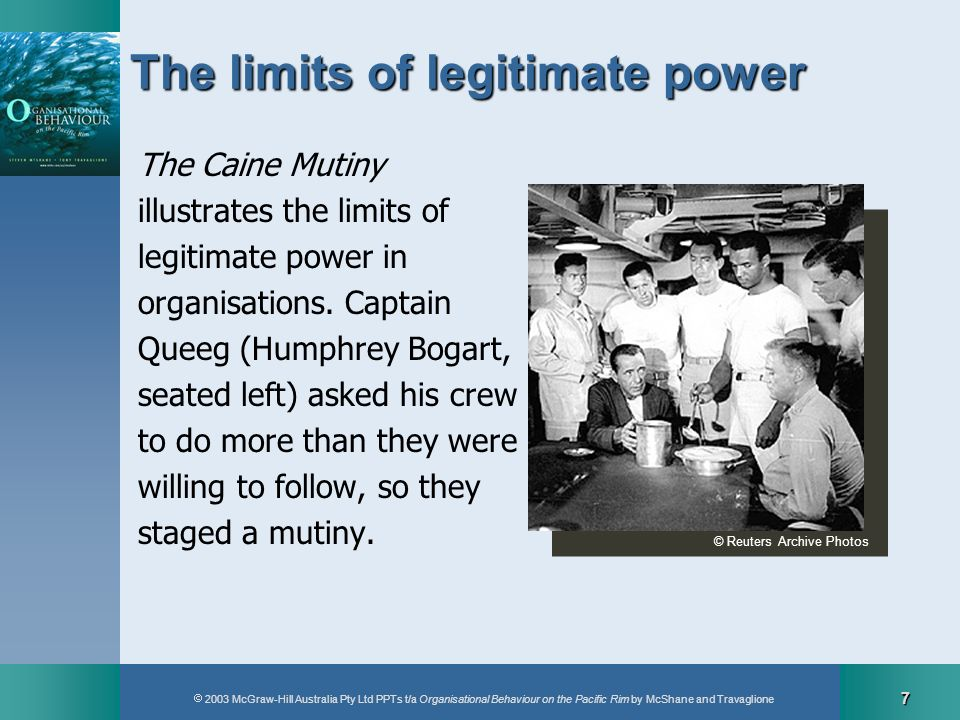 2003 McGraw-Hill Australia Pty Ltd PPTs t/a Organisational Behaviour on the Pacific Rim by McShane and Travaglione 7 The limits of legitimate power Th