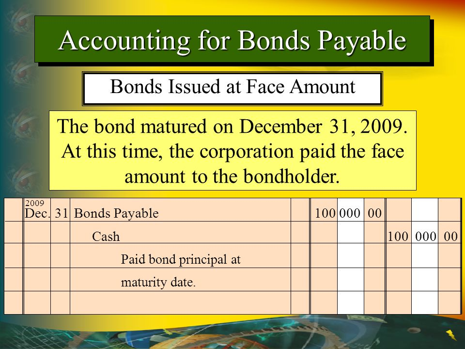 The bond matured on December 31, 2009. At this time, the corporation paid the face amount to the bondholder. Dec. 31Bonds Payable100 000 00 Paid bond