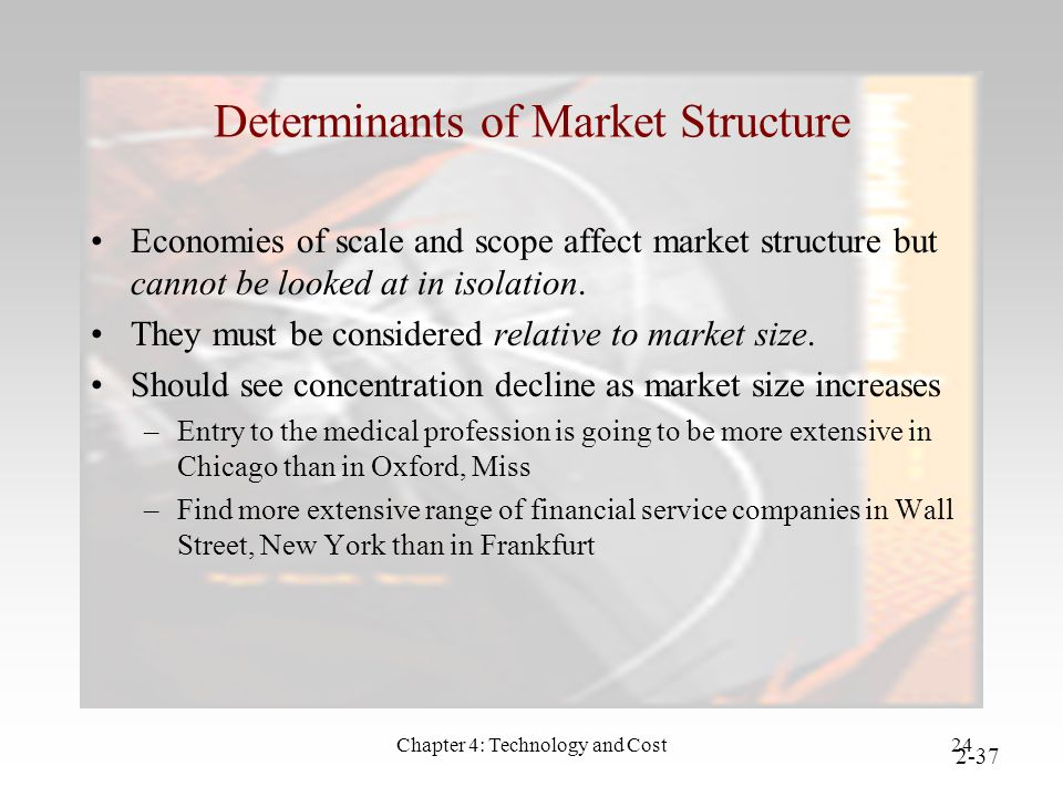 Chapter 4: Technology and Cost24 Determinants of Market Structure Economies of scale and scope affect market structure but cannot be looked at in isolation.