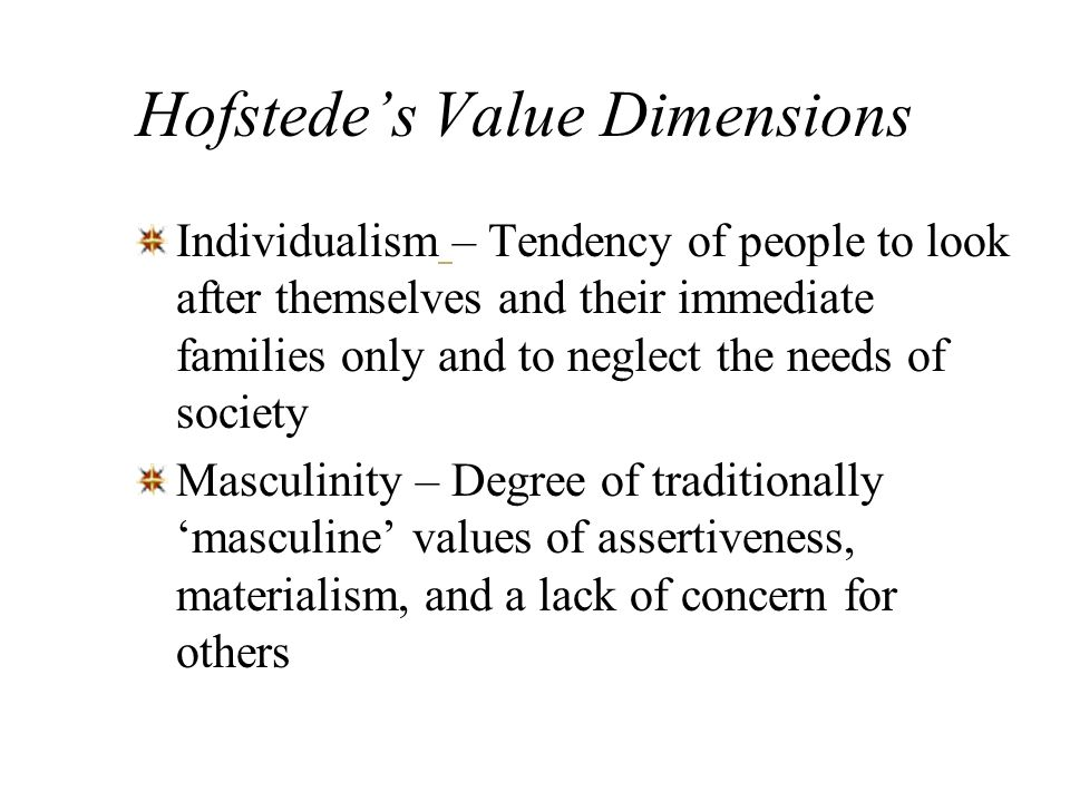 Hofstedes Value Dimensions Early research that developed a framework for understanding how basic values underlie organizational behavior –Power Distan