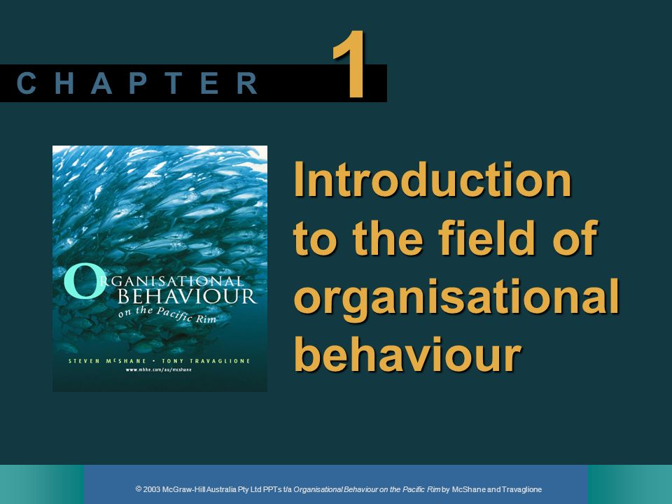 2003 McGraw-Hill Australia Pty Ltd PPTs t/a Organisational Behaviour on the Pacific Rim by McShane and Travaglione C H A P T E R 1 Introduction to the
