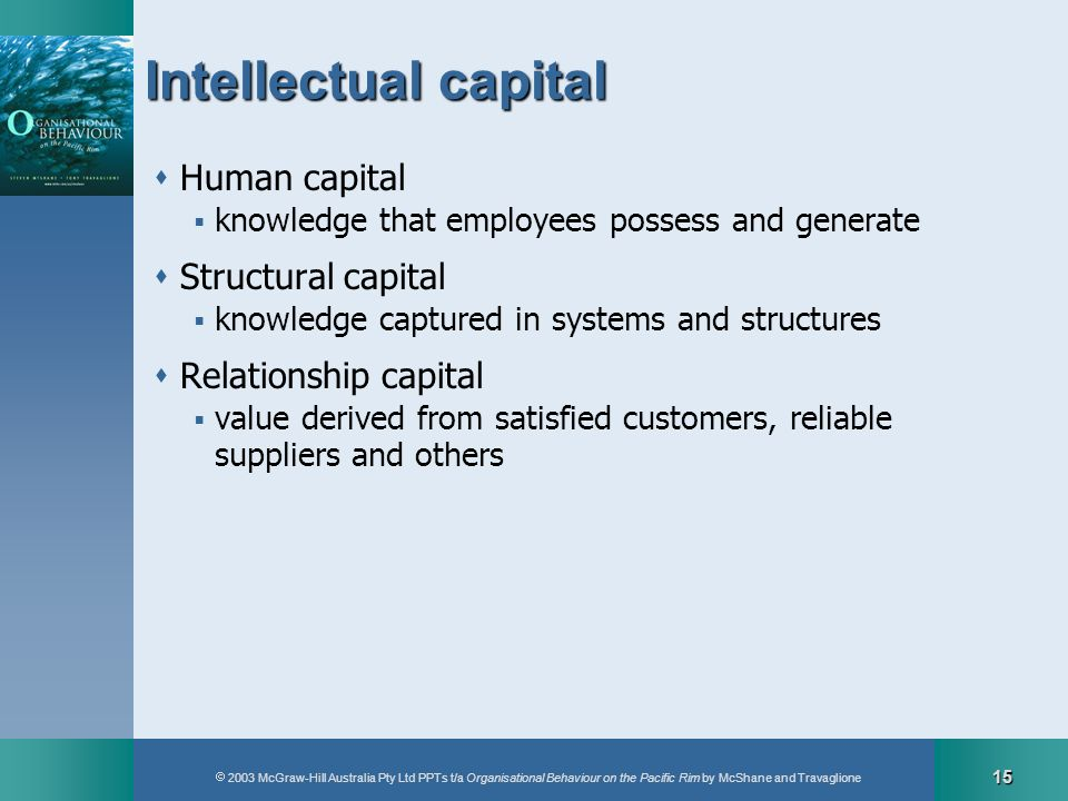 2003 McGraw-Hill Australia Pty Ltd PPTs t/a Organisational Behaviour on the Pacific Rim by McShane and Travaglione 15 Intellectual capital Human capit