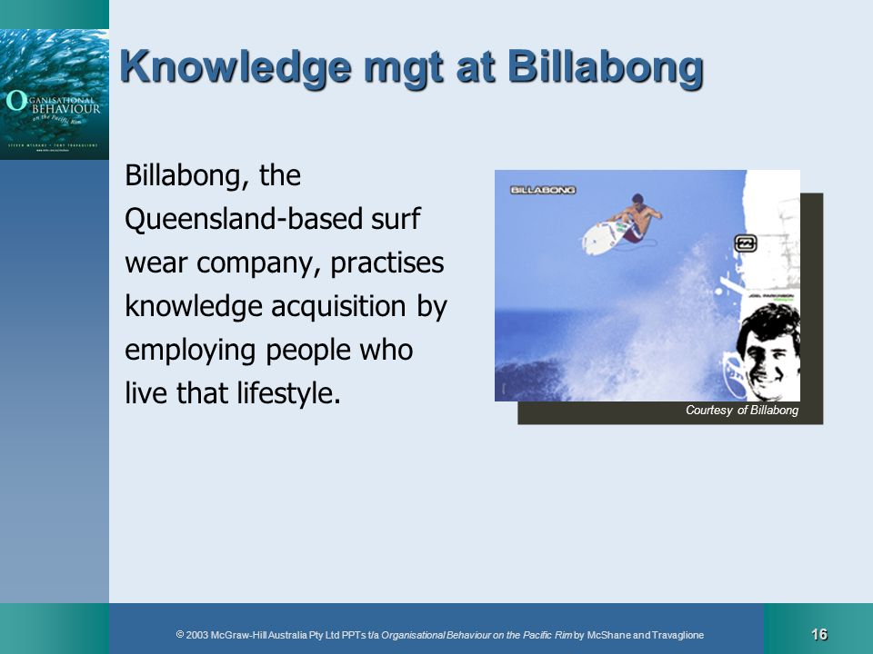 2003 McGraw-Hill Australia Pty Ltd PPTs t/a Organisational Behaviour on the Pacific Rim by McShane and Travaglione 16 Knowledge mgt at Billabong Billa