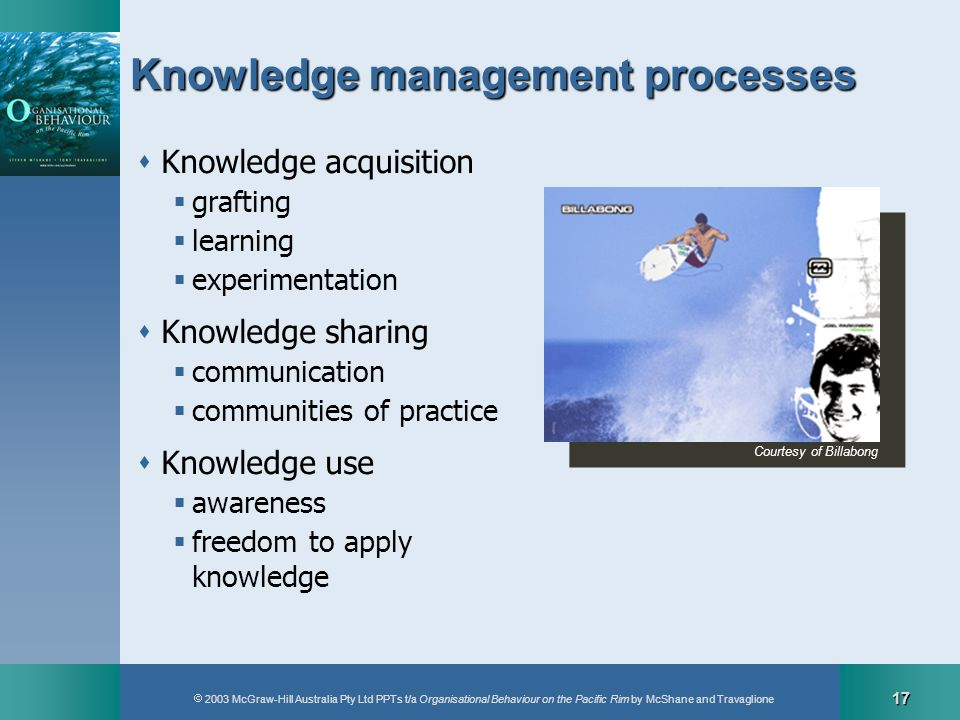 2003 McGraw-Hill Australia Pty Ltd PPTs t/a Organisational Behaviour on the Pacific Rim by McShane and Travaglione 17 Knowledge management processes K