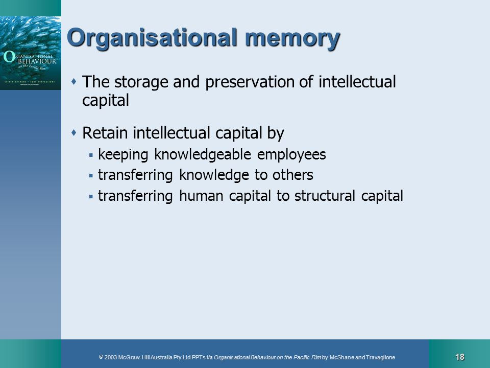 2003 McGraw-Hill Australia Pty Ltd PPTs t/a Organisational Behaviour on the Pacific Rim by McShane and Travaglione 18 Organisational memory The storag