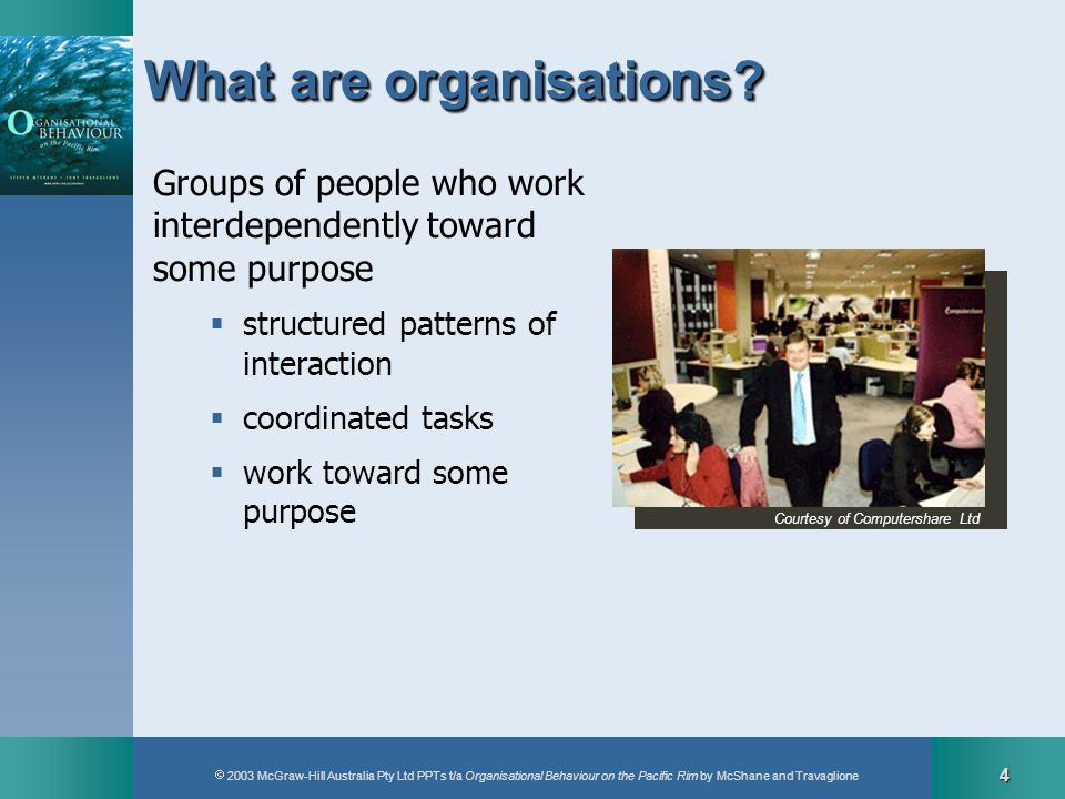 2003 McGraw-Hill Australia Pty Ltd PPTs t/a Organisational Behaviour on the Pacific Rim by McShane and Travaglione 4 What are organisations? Groups of