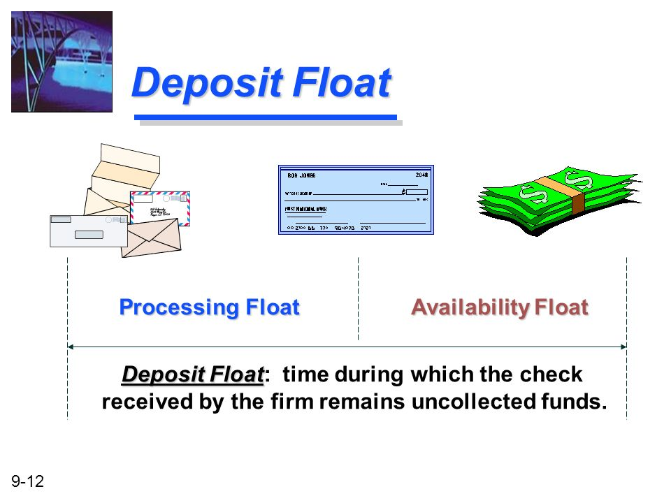 9-12 Deposit Float Deposit Float Deposit Float: time during which the check received by the firm remains uncollected funds. Processing Float Availabil