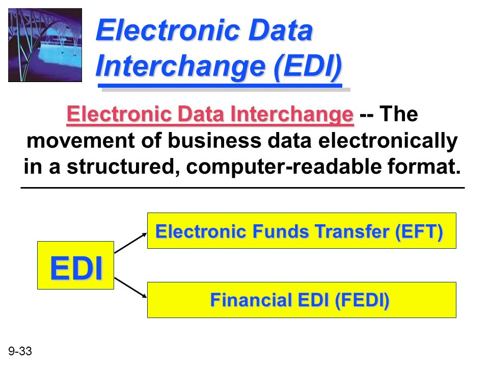 9-33 Electronic Data Interchange (EDI) Electronic Data Interchange Electronic Data Interchange -- The movement of business data electronically in a st