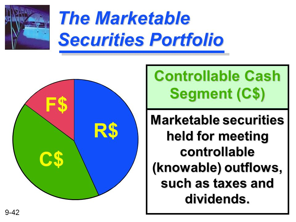 9-42 Controllable Cash Segment (C$) Marketable securities held for meeting controllable (knowable) outflows, such as taxes and dividends. The Marketab