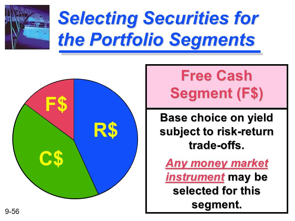 9-56 Free Cash Segment (F$) Base choice on yield subject to risk-return trade-offs. Any money market instrument may be selected for this segment. R$ F