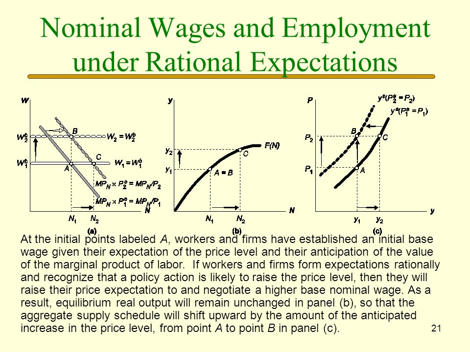 21 Nominal Wages and Employment under Rational Expectations At the initial points labeled A, workers and firms have established an initial base wage g