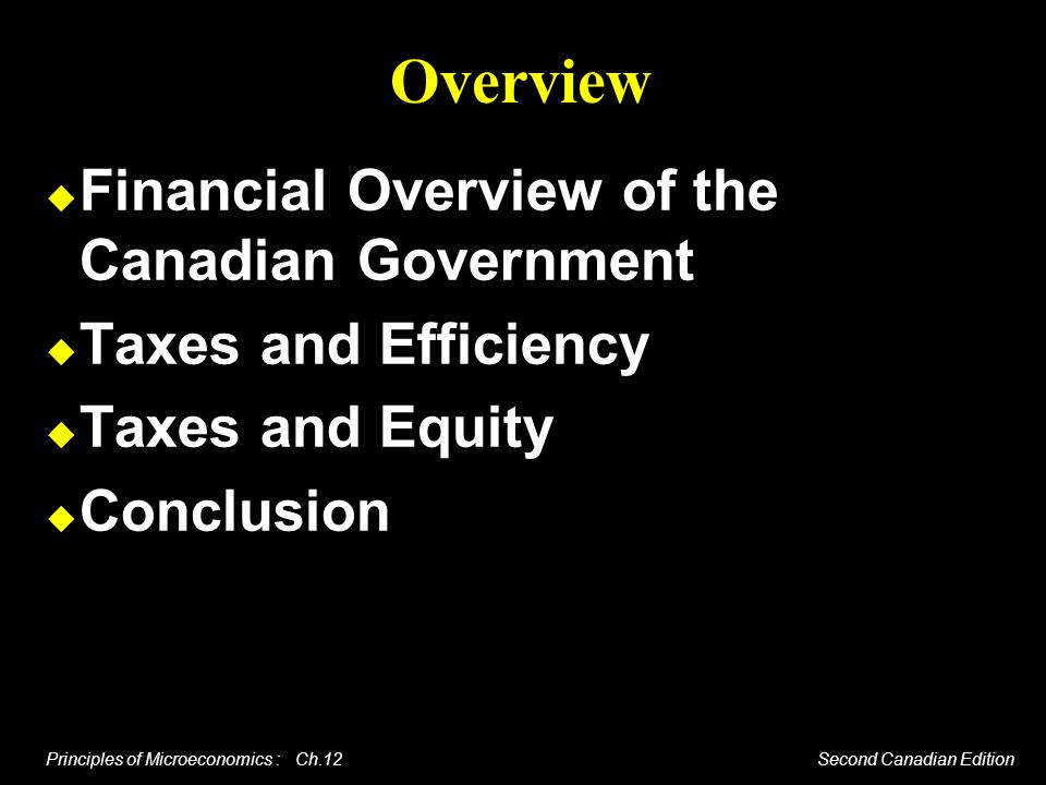 Principles of Microeconomics : Ch.12 Second Canadian Edition Taxes and Equity The difficult part of tax policy is to balance the sometimes conflicting nature of the efficiency and equity goals.