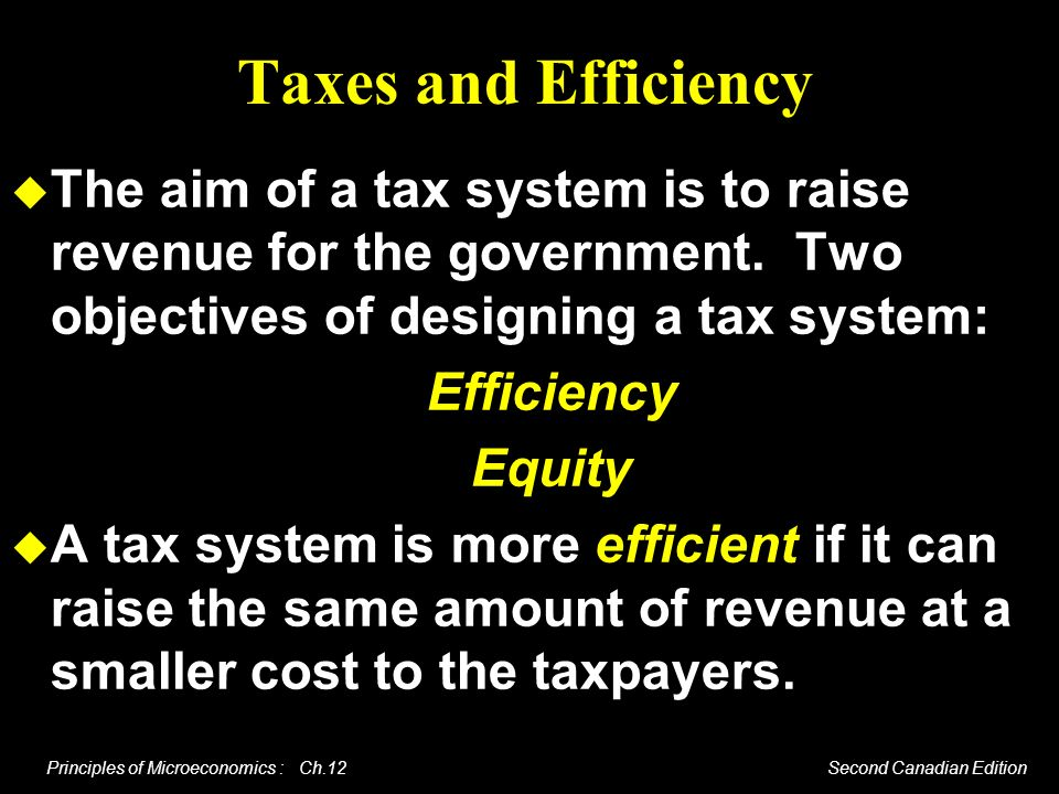Principles of Microeconomics : Ch.12 Second Canadian Edition Taxes and Efficiency The aim of a tax system is to raise revenue for the government. Two