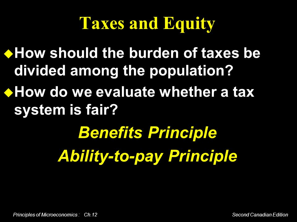 Principles of Microeconomics : Ch.12 Second Canadian Edition Taxes and Equity How should the burden of taxes be divided among the population? How do w