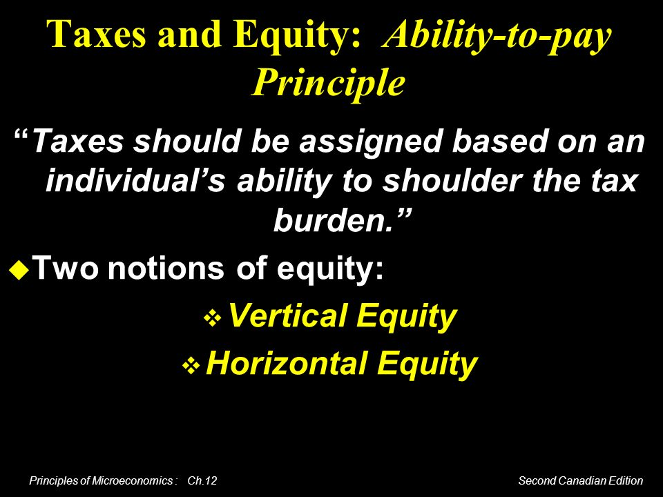 Principles of Microeconomics : Ch.12 Second Canadian Edition Taxes and Equity: Ability-to-pay Principle Taxes should be assigned based on an individua