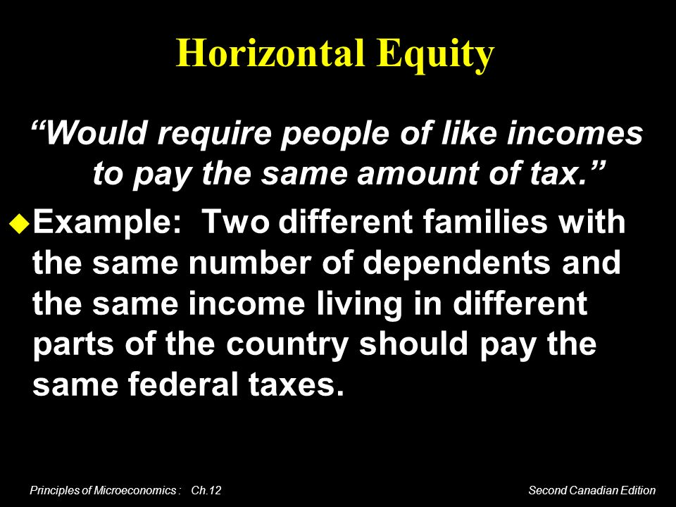 Principles of Microeconomics : Ch.12 Second Canadian Edition Horizontal Equity Would require people of like incomes to pay the same amount of tax. Exa