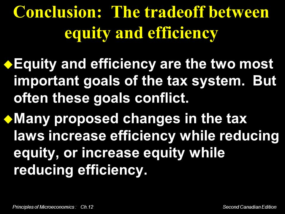 Principles of Microeconomics : Ch.12 Second Canadian Edition Conclusion: The tradeoff between equity and efficiency Equity and efficiency are the two