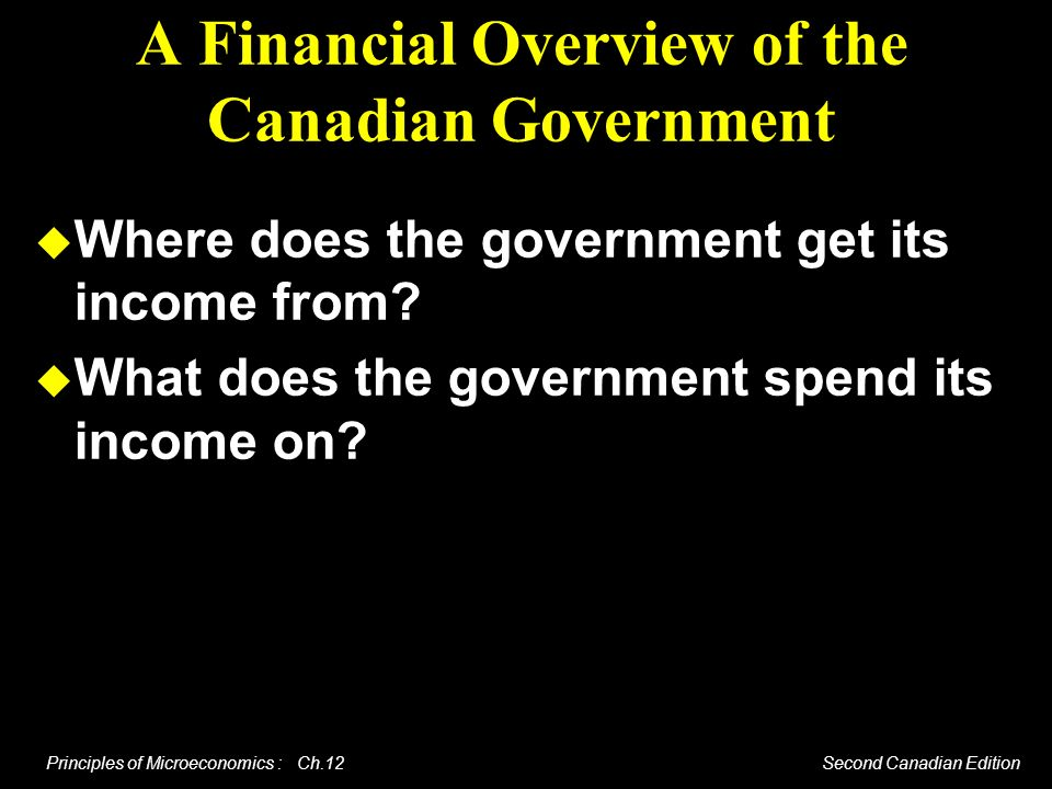 Principles of Microeconomics : Ch.12 Second Canadian Edition The Canadian Federal Structure There are three levels of government - federal, provincial, local.
