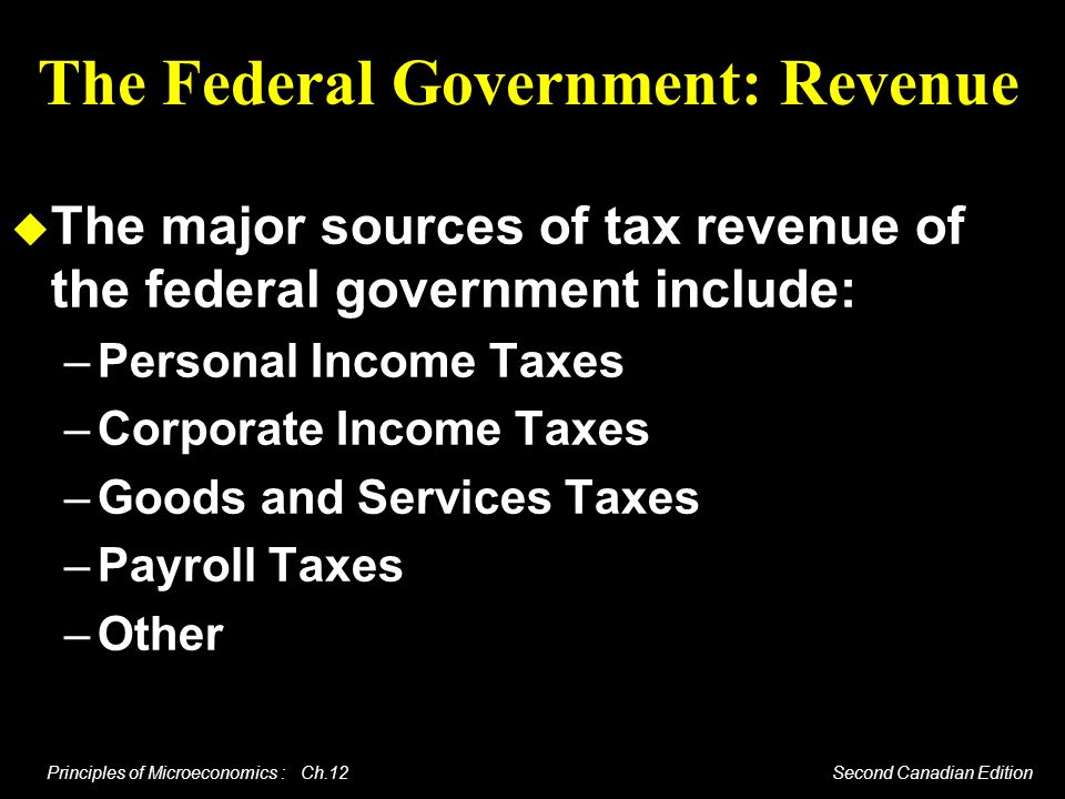 Principles of Microeconomics : Ch.12 Second Canadian Edition The Federal Government: Revenue The major sources of tax revenue of the federal governmen