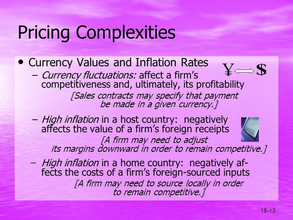 16-13 Pricing Complexities Currency Values and Inflation Rates –Currency fluctuations: affect a firms competitiveness and, ultimately, its profitabili