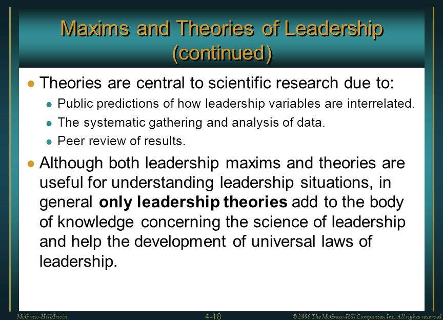 Maxims and Theories of Leadership (continued) Theories are central to scientific research due to: Public predictions of how leadership variables are i