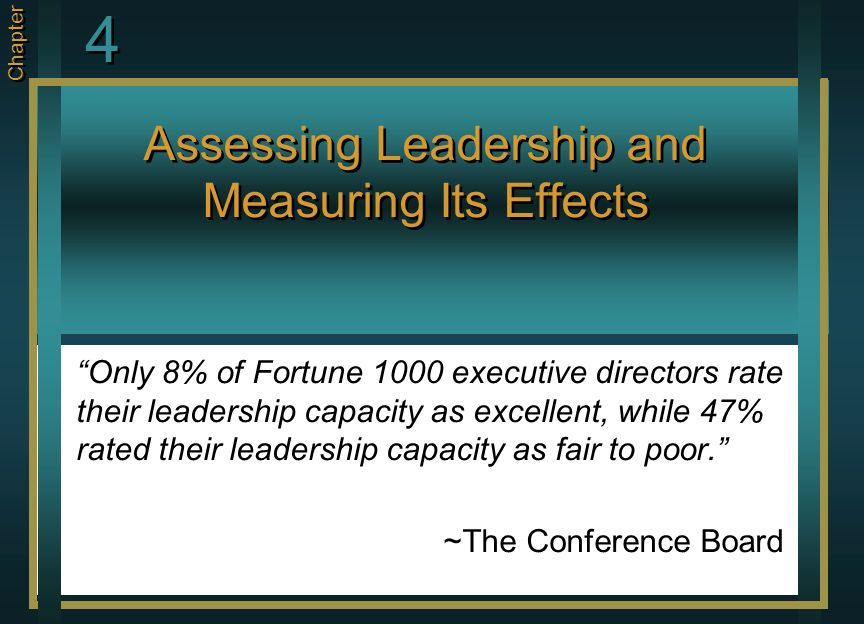 Assessing Leadership and Measuring Its Effects Only 8% of Fortune 1000 executive directors rate their leadership capacity as excellent, while 47% rate