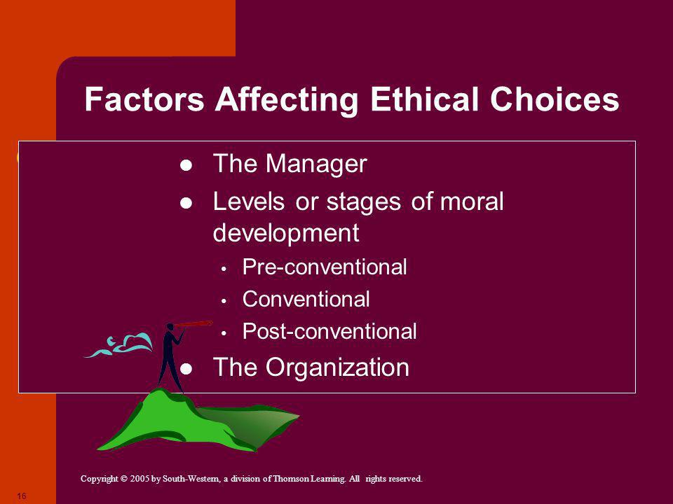 Copyright © 2005 by South-Western, a division of Thomson Learning. All rights reserved. 16 Factors Affecting Ethical Choices The Manager Levels or sta