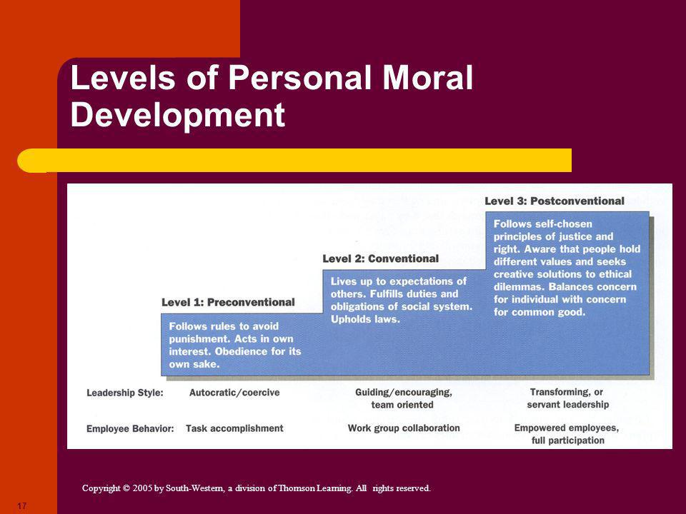 Copyright © 2005 by South-Western, a division of Thomson Learning. All rights reserved. 17 Levels of Personal Moral Development