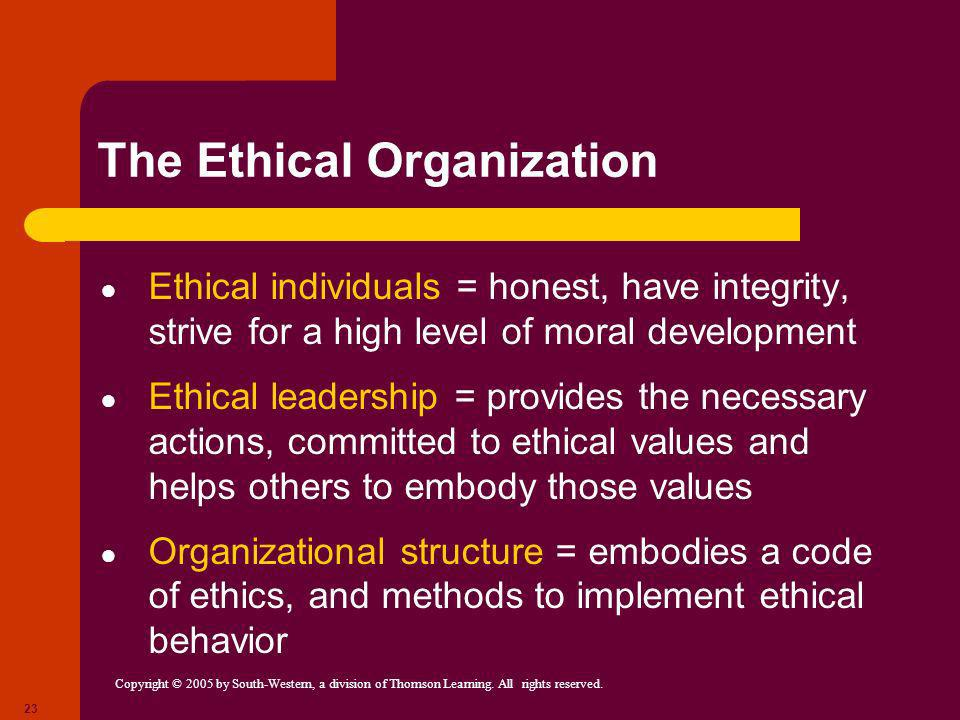 Copyright © 2005 by South-Western, a division of Thomson Learning. All rights reserved. 23 The Ethical Organization Ethical individuals = honest, have