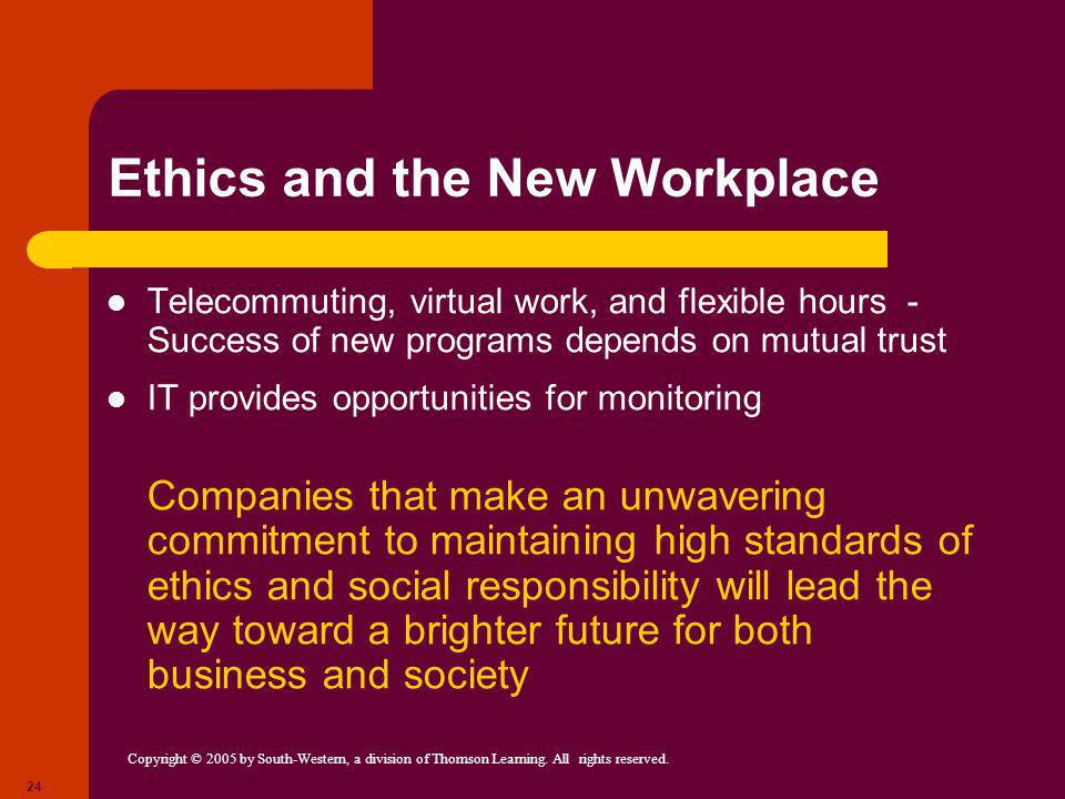 Copyright © 2005 by South-Western, a division of Thomson Learning. All rights reserved. 24 Ethics and the New Workplace Telecommuting, virtual work, a
