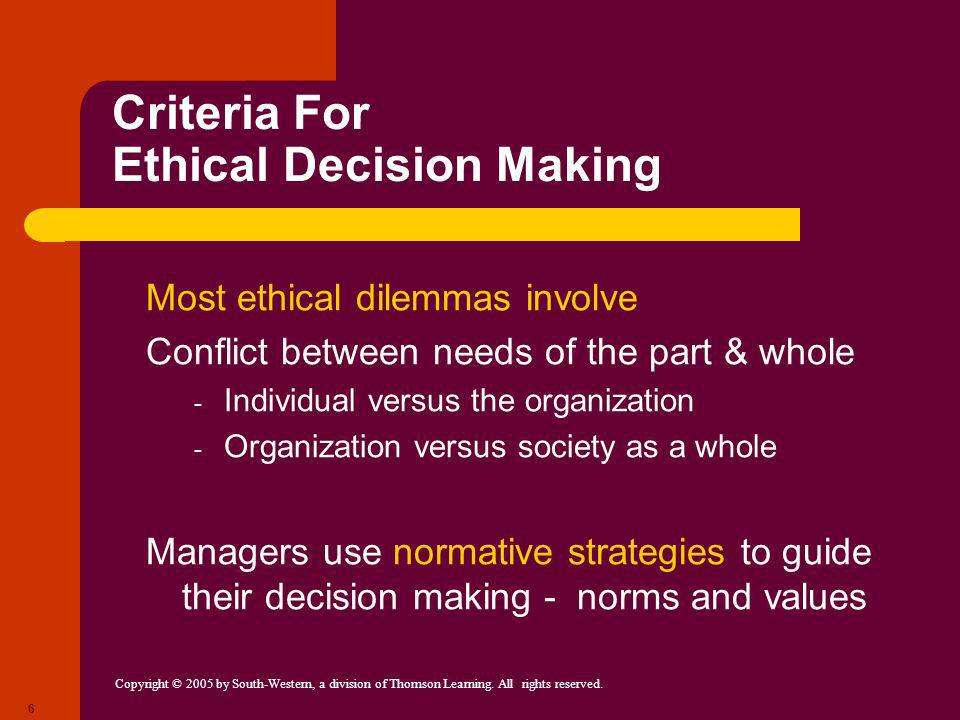 Copyright © 2005 by South-Western, a division of Thomson Learning. All rights reserved. 6 Criteria For Ethical Decision Making Most ethical dilemmas i