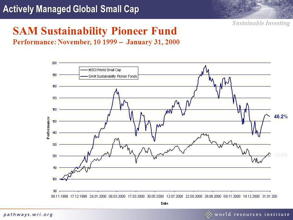 Sustainable Investing SAM Sustainability Pioneer Fund Performance: November, 10 1999 – January 31, 2000 46.2% 16.6% Actively Managed Global Small Cap