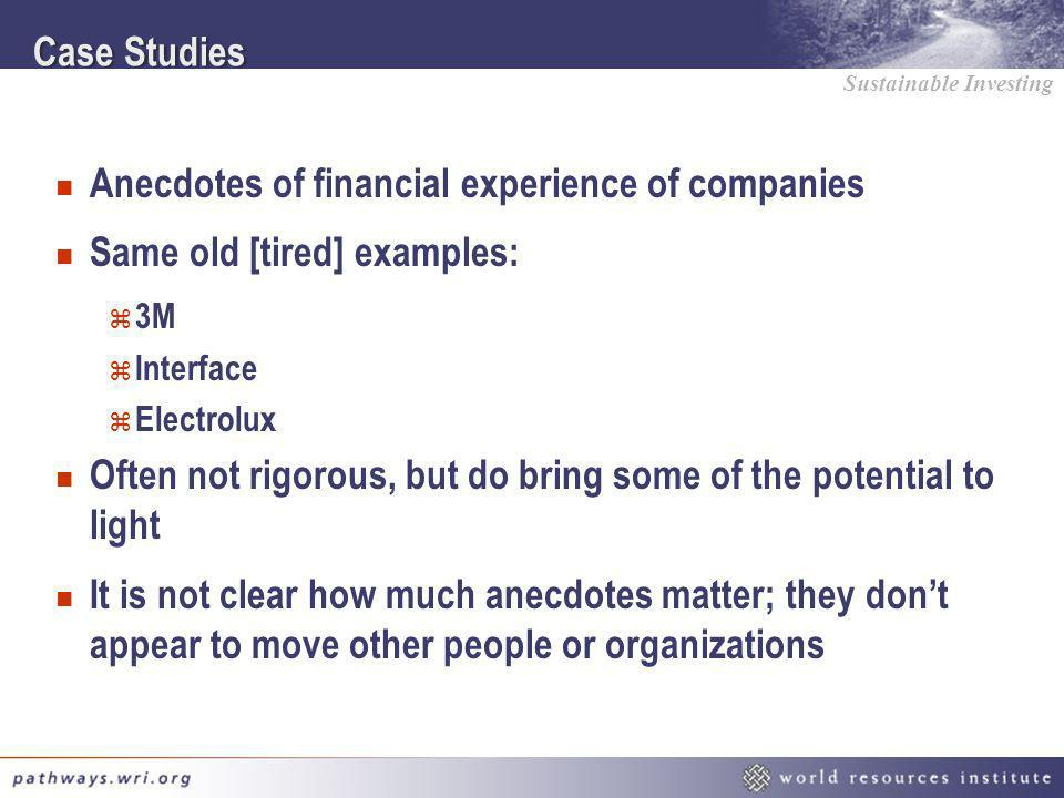 Sustainable Investing Case Studies n Anecdotes of financial experience of companies n Same old [tired] examples: z 3M z Interface z Electrolux n Often