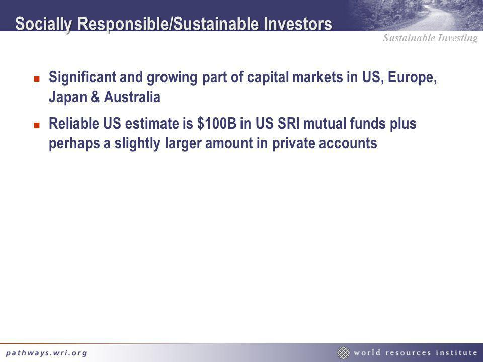 Sustainable Investing Socially Responsible/Sustainable Investors n Significant and growing part of capital markets in US, Europe, Japan & Australia n
