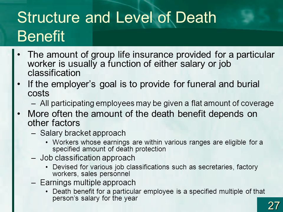 27 Structure and Level of Death Benefit The amount of group life insurance provided for a particular worker is usually a function of either salary or