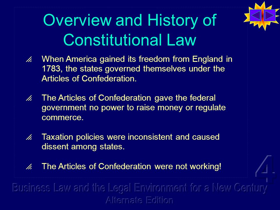 Overview and History of Constitutional Law When America gained its freedom from England in 1783, the states governed themselves under the Articles of