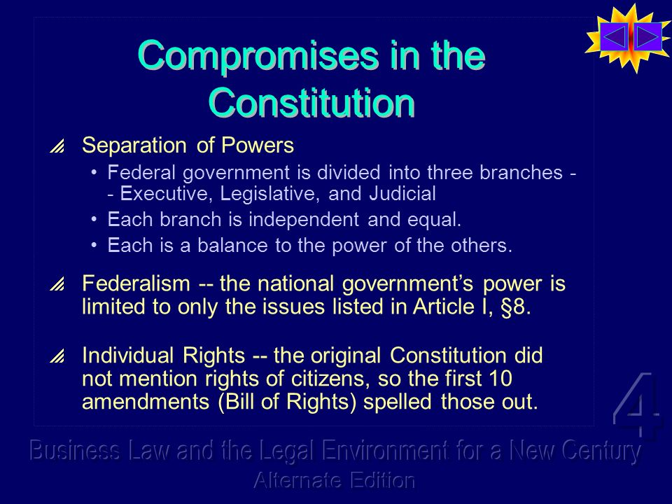 Compromises in the Constitution Separation of Powers Federal government is divided into three branches - - Executive, Legislative, and Judicial Each b