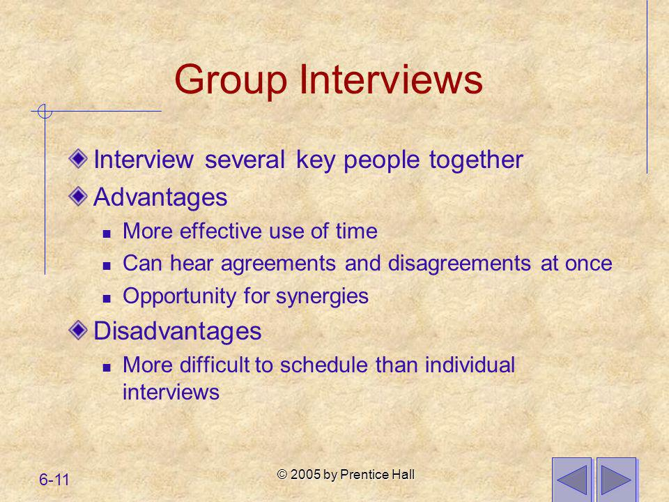 © 2005 by Prentice Hall 6-11 Group Interviews Interview several key people together Advantages More effective use of time Can hear agreements and disa